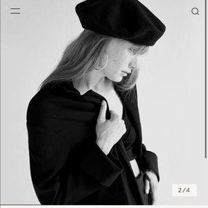 NWOT Janessa Leone Black Wool Renee Beret Hat
